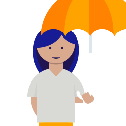 Illustration of woman under umbrella